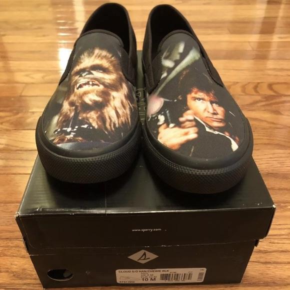 Sperry Cloud Star Wars Hans Solo Chewie Black Canvas Slip On Shoes Mens 11